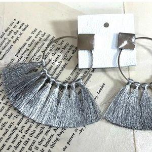 Free People Earrings Metallic Fringe Fan Tassel